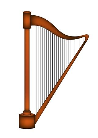Wooden harp Illustration