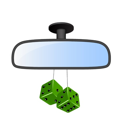 rear view mirror: Car mirror with pair of green dices Illustration