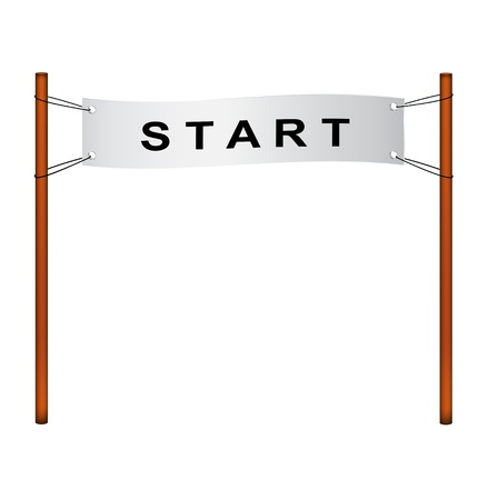 racecourse: Starting line – ribbon with start Illustration