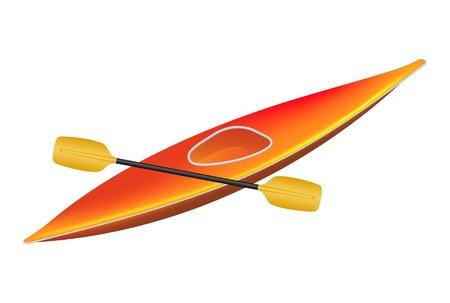 kayak: Kajak met peddel Stock Illustratie