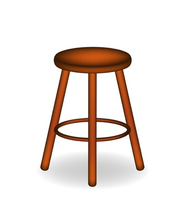 stools: Retro wooden stool Illustration