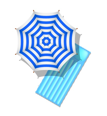 Blue and white striped beach umbrella and air mattress Stock Vector - 13508155