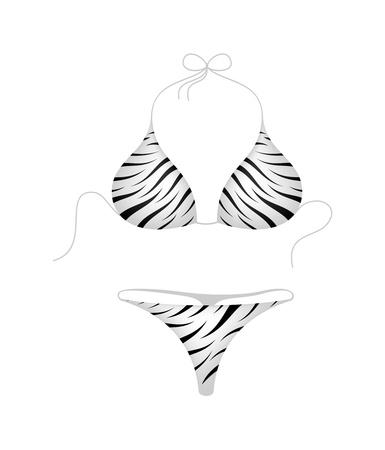 teen girl bikini: Bikini suit - zebra design Illustration