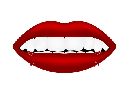 Vampire mouth with bloody teeth Stock Vector - 13623189