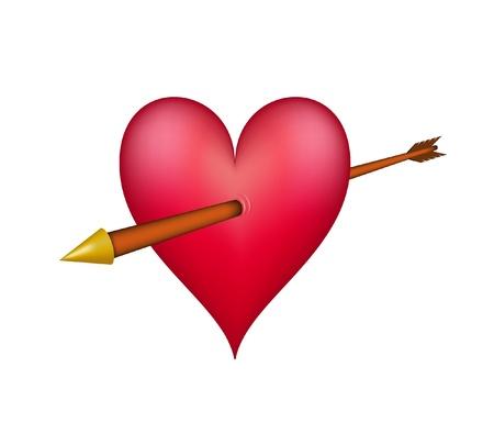 pierced: Red heart pierced by an golden arrow