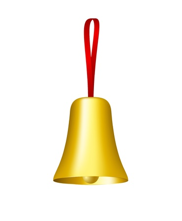 Golden bell with red ribbon Stock Vector - 13849733