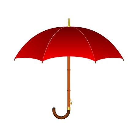 lluvia paraguas: Paraguas rojo con mango de madera