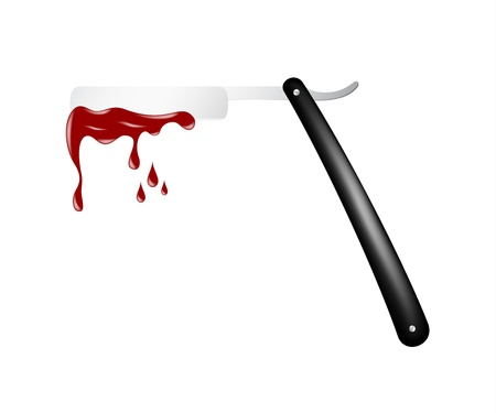 straight razor: Razor with blood Illustration