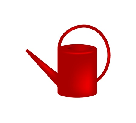 watering garden: Red watering can