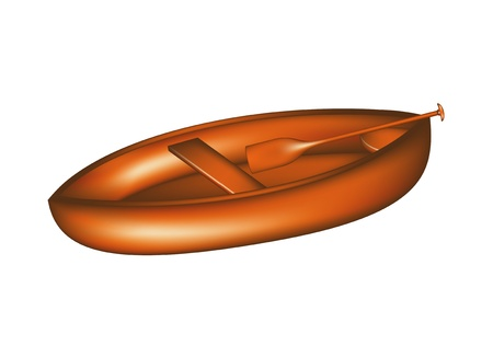 Wooden canoe with paddle Vector