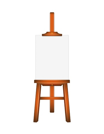 canvas painting: Blank art board, wooden easel