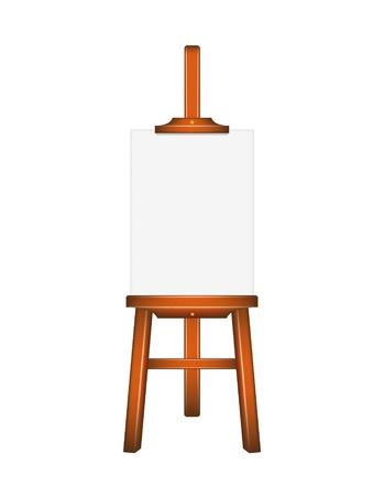 exposition art: Conseil d'administration art blanc, chevalet en bois