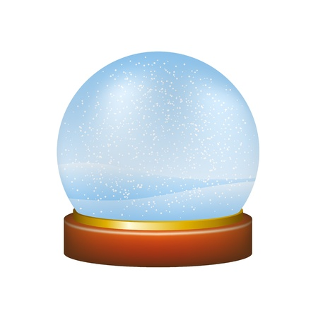 golden globe: Snow globe with winter landscape