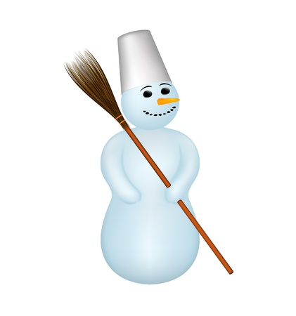 Snowman with a broom Stock Vector - 14656463