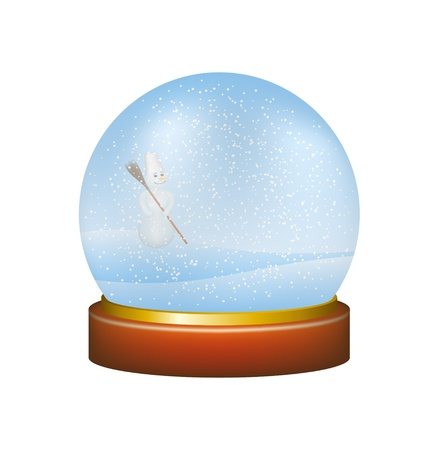 Snow globe with winter landscape and snowman Vector