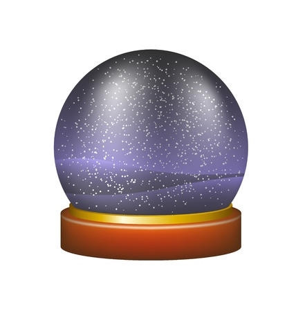 Snow globe with winter night landscape Vector
