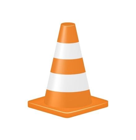 road warning sign: Cono de tr�fico Orange Vectores