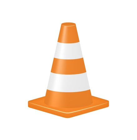 road work: Orange traffic cone