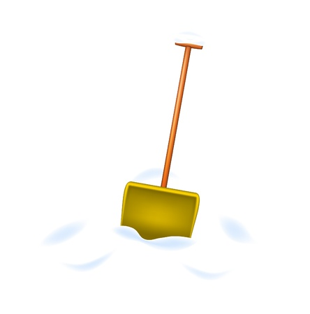 Snow shovel standing in snow Stock Vector - 14886987