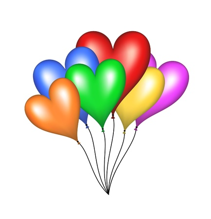 Flying balloons in shape of heart Stock Vector - 15216805