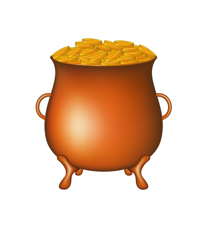 Pot with golden money coins Vector
