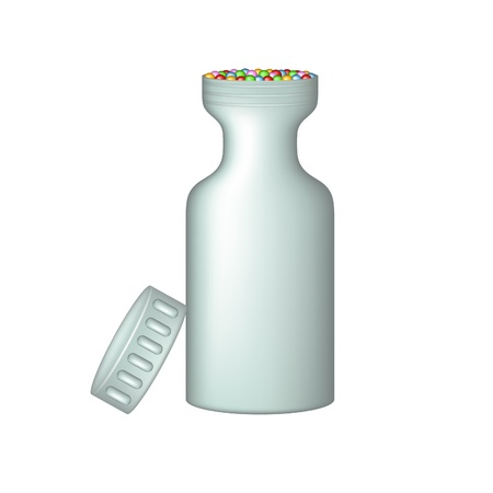 pill box: Plastic medical container with pills Illustration