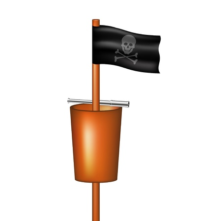 Pirate flag with a basket and a spyglass Stock Vector - 15171611