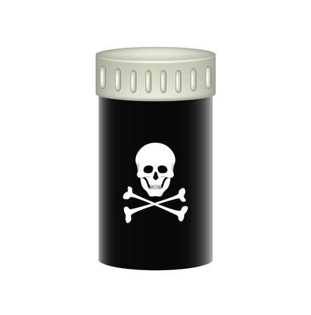 supplements: Medical container with danger sign Illustration