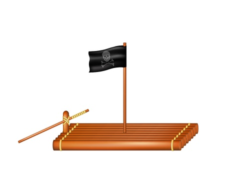 raft: Wooden raft with pirate flag