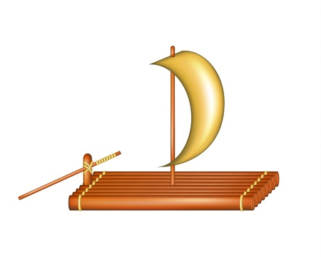 Wooden raft with sail