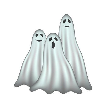 cute ghost: Three ghosts Illustration