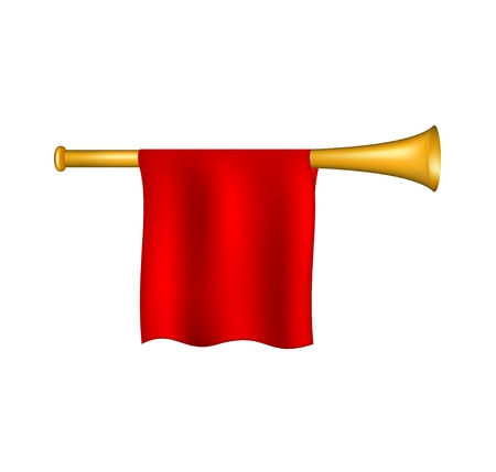 fanfare: Trumpet with red flag