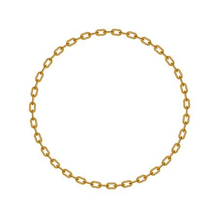 円の図形に金色のチェーン  イラスト・ベクター素材