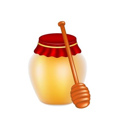 honey dipper: Sweet honey and wooden honey dipper Illustration