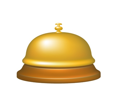 polished wood: Service bell in gold design