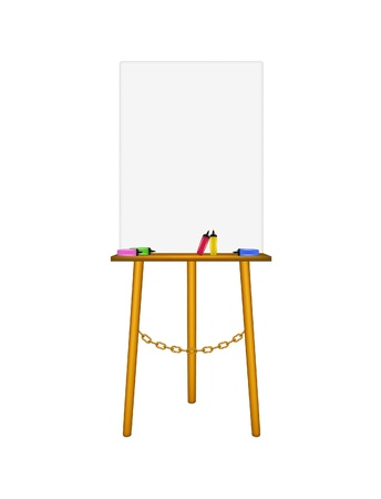 Blank art board, wooden easel and highlighters Stock Vector - 16446845