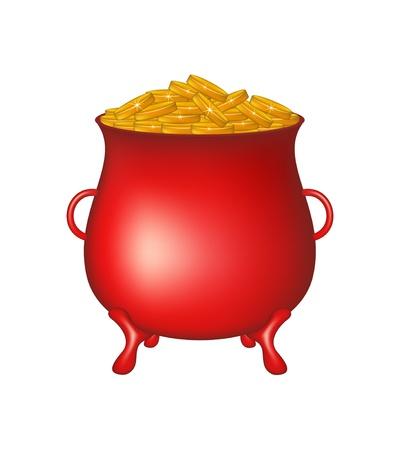 Pot with golden money coins  Illustration