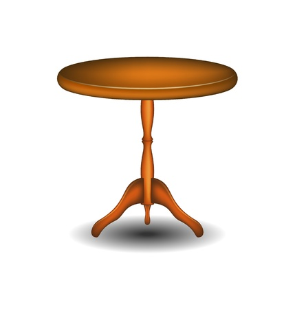 Wooden round table Vector