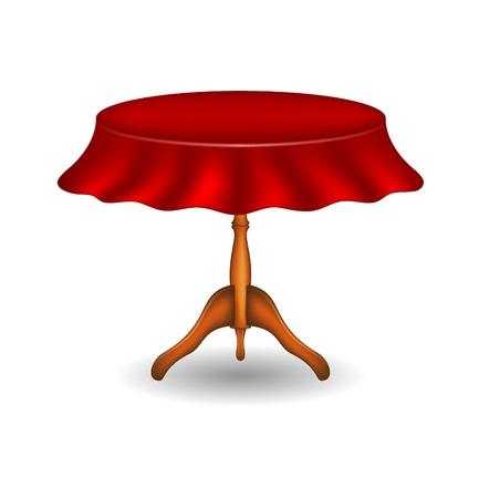 木製の丸いテーブル テーブル クロスで  イラスト・ベクター素材
