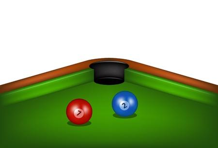 billiard balls: Billiard table with billiard balls