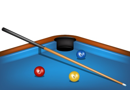 pool cue: Billiard table with billiard cue and billiard balls