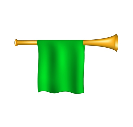 blare: Trumpet with green flag
