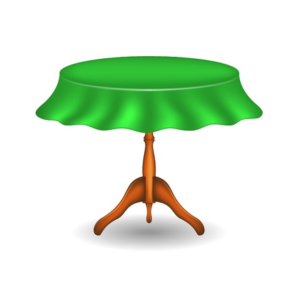 Wooden round table with tablecloth Illustration