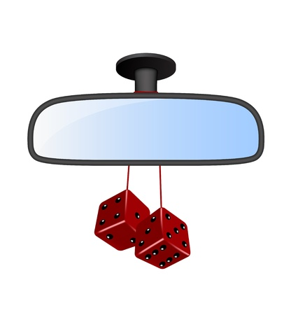 rear views: Car mirror with pair of red dices
