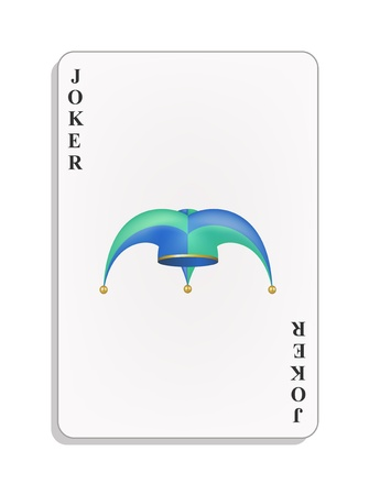 jester hat: Playing card with jester hat - Joker