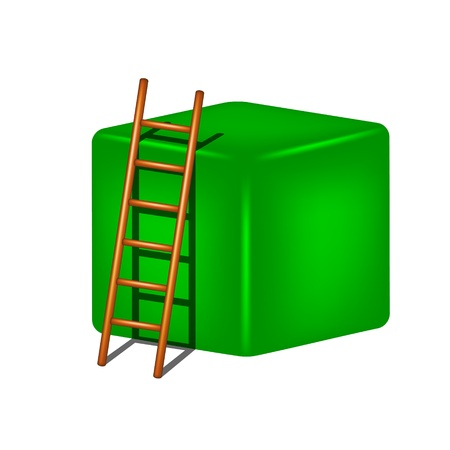 clamber: Green cube and wooden ladder Illustration