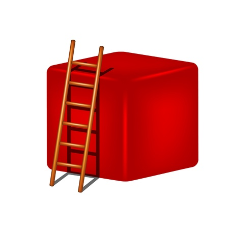 clamber: Red cube and wooden ladder Illustration