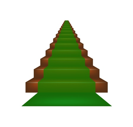 green carpet: Stairs covered with green carpet