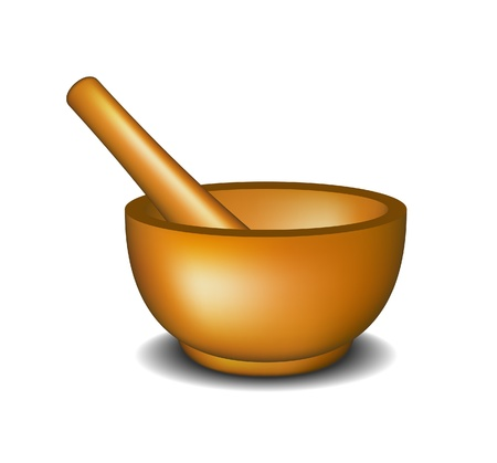 chinese medicine: Mortar and pestle  Illustration