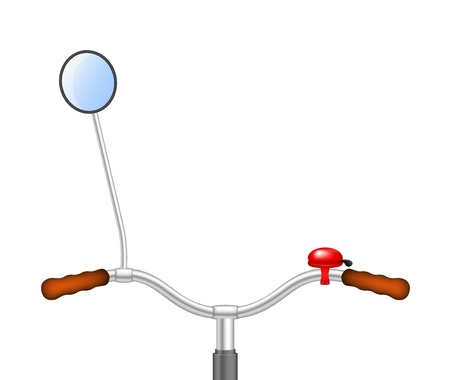rear view mirror: Handlebar of a bicycle with bicycle bell and rear view mirror